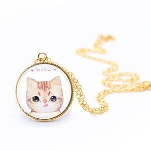 Jewelry - Handmade Cat Picture Gold Dainty Chain Necklace